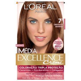 Tintura Permanente Imédia Excellence - 7.7 Chocolate Dourado   1 unidade