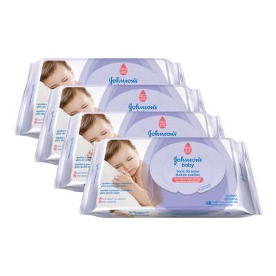 Kit 4 Lenço Umedecido Johnson´s Baby Hora Do Sono 198 Unidades