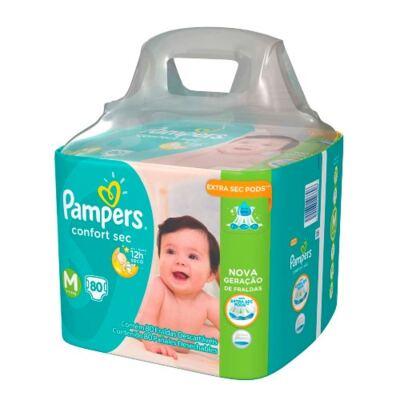 Imagem 2 do produto Kit Pampers Fralda Descartável Confort Sec M 80 Unidades + Lenços Umedecidos Fresh Clean 48 Unidades