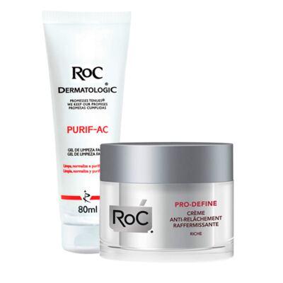 Kit Roc Pro-Define Creme 50ml + Gel de Limpeza Facial Purif-Ac 80g