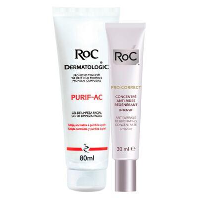 Imagem 1 do produto Kit Roc Pro-Correct Concentrado Intensivo 30ml + Gel de Limpeza Facial Purif-Ac 80g
