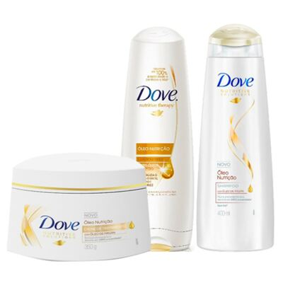 Kit Dove Óleo Nutrição Shampoo + Condicionador 400ml + Creme de Tratamento 350g