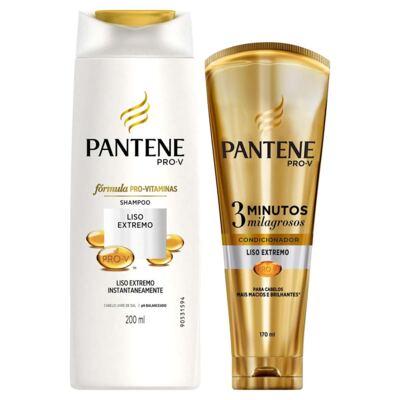 Kit Pantene Liso Extremo Shampoo 200ml + Condicionador 3 Minutos Milagrosos 170ml