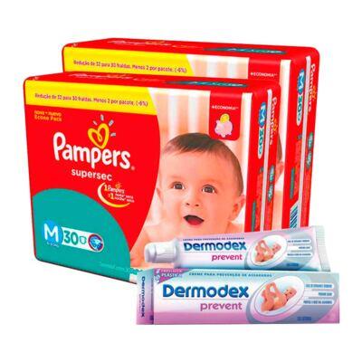 Imagem 1 do produto Kit Pampers Fralda Descartável Supersec M 60 Unidades + Dermodex Prevent 30g