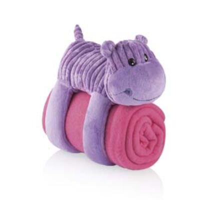 Imagem 1 do produto Cobertor com Travesseiro de Pelúcia 3 em 1 Hipopótamo Multikids Baby - BB145