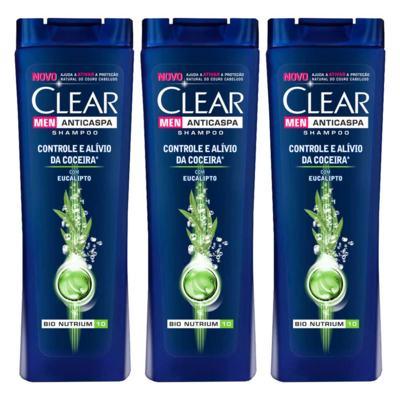 Kit 3 Shampoo Anticaspa Clear Men Controle e Alívio da Coceira 200ml
