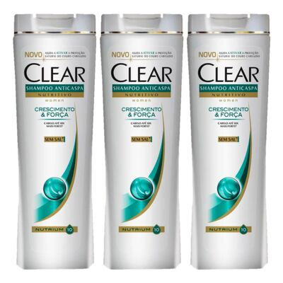 Kit 3 Shampoo Clear Crescimento e Força 200ml
