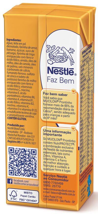 Imagem 2 do produto Bebida Láctea Nestlé Mucilon Prontinho Banana com Pêssego 190ml