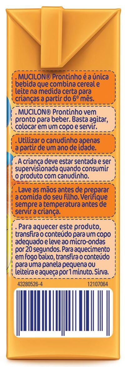 Imagem 3 do produto Bebida Láctea Nestlé Mucilon Prontinho Banana com Pêssego 190ml