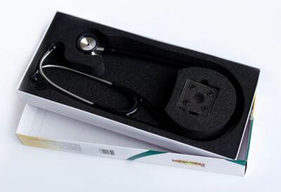 Imagem 5 do produto Kit Esteto Cardiológico Preto com Aparelho de Pressão Vinho Premium