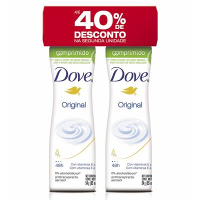 Kit Desodorante Antitranspirante Dove - Original Comprimido | 85ml | 2 unidades - 40% De Desconto Na Segunda Unidades
