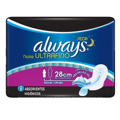 Absorvente Always Ultrafino Noite Seca com Abas 8 Unidades