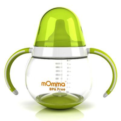 Copo de transição Antivazamento com alças Verde 250 ml (6m+) - mOmma - MM71001 Copo de Transição Antivazamento Verde 250ml (6m+)