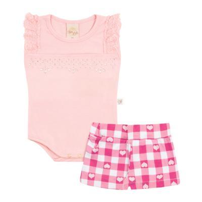 Body regata com Shorts balonê para bebe Peach - Time Kids - TK5054.RS CONJUNTO BODY E SHORTS XADREZ ROSA-G