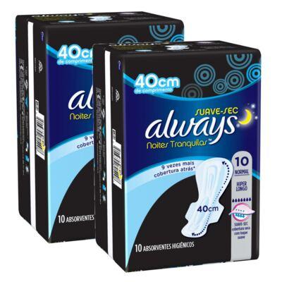 Kit Absorvente Always Noites Tranquilas Hiper Longo com Abas 20 unidades