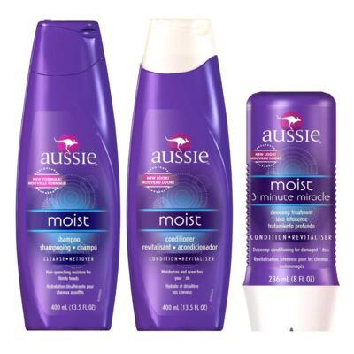 Kit Aussie Moist Shampoo + Condicionador + Tratamento Milagroso