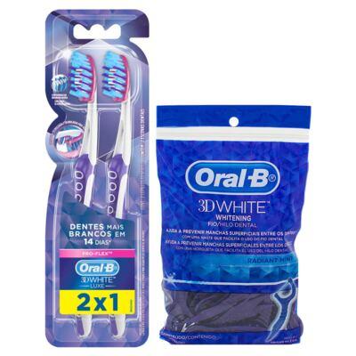 Imagem 1 do produto Kit Oral-B 3D White 2 Ecovas Dental Luxe Pró-Flex + Fio Dental Flexível Hastes 75 Unidades