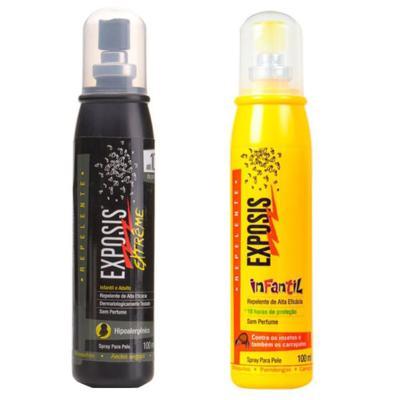 Imagem 1 do produto Repelente Exposis Extreme 100ml + Repelente Exposis Spray Infantil 100ml