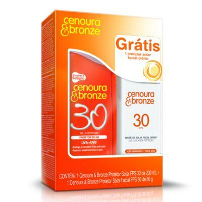 Imagem 1 do produto Kit Protetor Solar Cenoura & Bronze FPS 30 200ml + Protetor Solar Facial Cenoura & Bronze FPS 30 50g