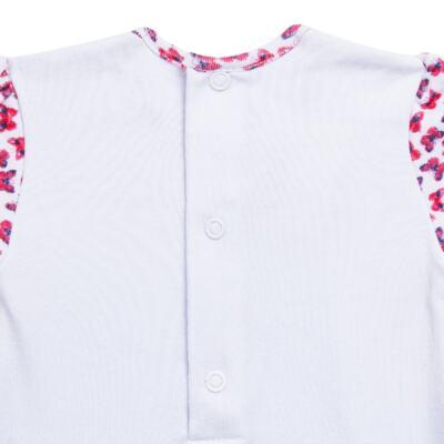 Imagem 4 do produto Macacão Sapatilha para bebe em algodão egípcio com jato de cerâmica Papillon -  Mini & Classic - 2044658 MACACAO ML C/ BABADOS SUDEINE FLORAL NAVY-P