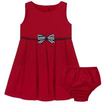 Vestido c/ Calcinha para bebe em fustão Scarlet - Mini Sailor - 14474263 VESTIDO C/ VIVO FUSTAO VERM ESC-6-9