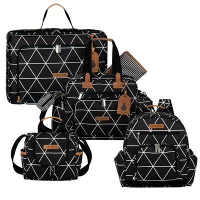 Imagem 1 do produto Mala maternidade Vintage + Bolsa Everyday + Frasqueira térmica Emy + Mochila Noah Manhattan Preta - Masterbag