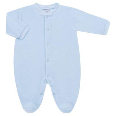 Macacão longo para bebe em plush Azul - Tilly Baby - TB13172.09 MACACAO BASICO DE PLUSH AZUL BEBE-P