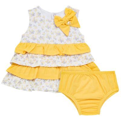 Vestido com Calcinha para bebe em malha Daisy - Mini & Classic - 1416657 VESTIDO C/BABADOS MALHA FLORAL AMARELO-GG