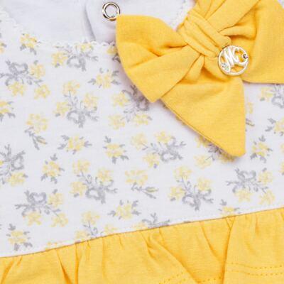 Imagem 3 do produto Vestido com Calcinha para bebe em malha Daisy - Mini & Classic - 1416657 VESTIDO C/BABADOS MALHA FLORAL AMARELO-GG