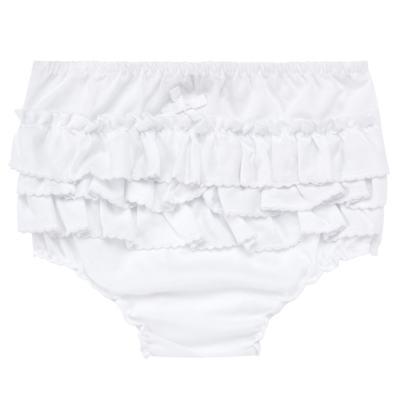 Imagem 1 do produto Calcinha Babadinhos para bebe em fustão Branca - Mini Sailor - 56024447 CALCINHA C/BABADO AVULSA TRICOLINE BRANCO-0-3