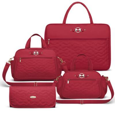 Imagem 1 do produto Mala Maternidade para bebe + Bolsa Liverpool + Frasqueira Térmica Melrose + Trocador Portátil Laços Matelassê Cereja - Classic for Baby Bags