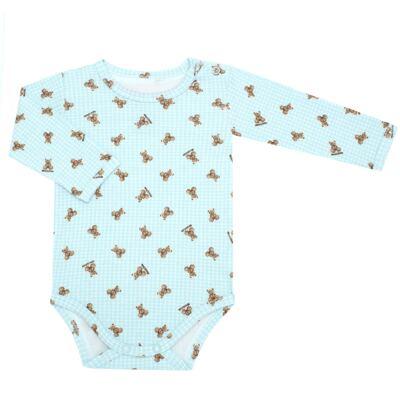 Body longo para bebe em algodão egípcio c/ jato de cerâmica e filtro solar fps 50 Teddy Sam - Mini & Kids - BS980 BODY LONGO SUEDINE URSINHO-RN