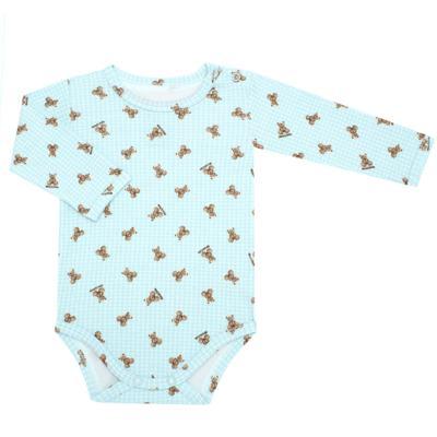 Imagem 1 do produto Body longo para bebe em algodão egípcio c/ jato de cerâmica e filtro solar fps 50 Teddy Sam - Mini & Kids - BS980 BODY LONGO SUEDINE URSINHO-M