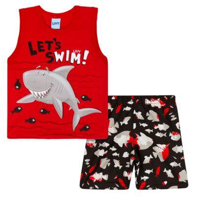 Imagem 1 do produto Regata com Bermuda tactel Red Shark - Livy