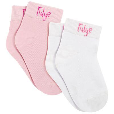 Imagem 1 do produto Pack 2 meias Soquete Branco/Rosa - Charpey