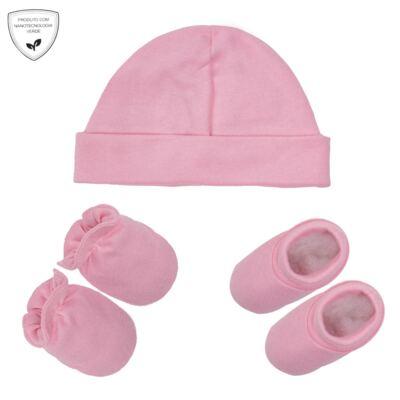 Imagem 1 do produto Kit Touca Luva e Sapatinho em suedine Baby Protect Rosa - Nano Protect