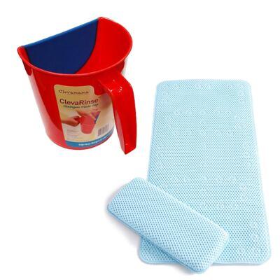 Imagem 1 do produto Enxaguante de shampoo ClevaRinse Vermelho e Tapete antiderrapante para banho e suporte para joelhos ClevaBath - Clevamama