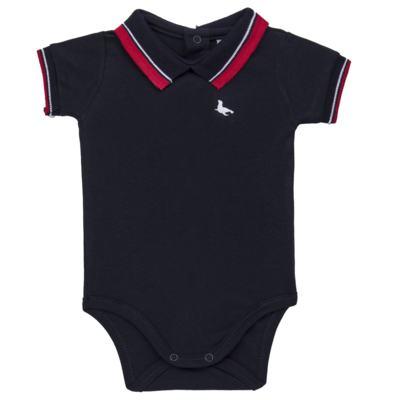 Body Polo para bebe em cotton touch Marinho - Mini Sailor - 04194262 BODY POLO M/C C/ RETILINEA SUEDINE MARINHO -3-6