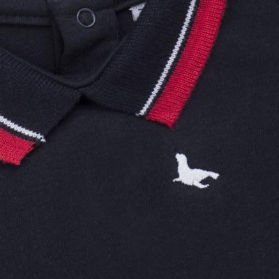 Imagem 2 do produto Body Polo para bebe em cotton touch Marinho - Mini Sailor - 04194262 BODY POLO M/C C/ RETILINEA SUEDINE MARINHO -3-6