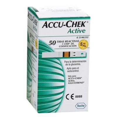 TIRA PARA TESTE DE GLICOSE ACTIVE ACCU-CHECK - Caixa com 50