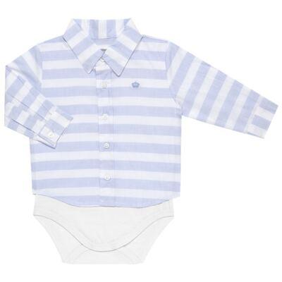Body Camisa para bebe em tricoline Blue Stripes - Baby Classic - 0921445 CAMISA BODY TRICOLINE CLÁSSICO-G
