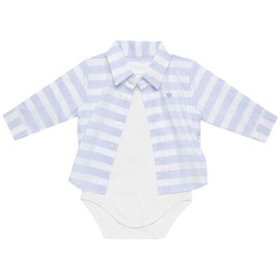 Imagem 3 do produto Body Camisa para bebe em tricoline Blue Stripes - Baby Classic - 0921445 CAMISA BODY TRICOLINE CLÁSSICO-G