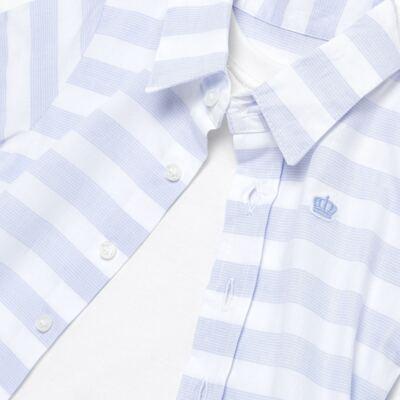 Imagem 4 do produto Body Camisa para bebe em tricoline Blue Stripes - Baby Classic - 0921445 CAMISA BODY TRICOLINE CLÁSSICO-G