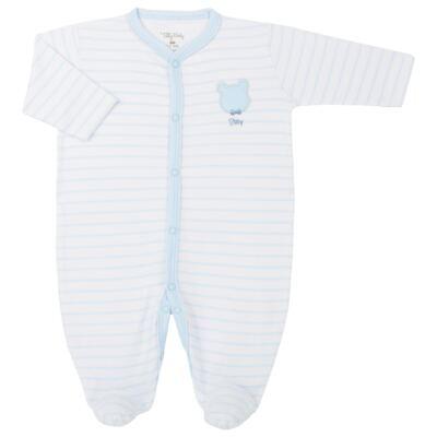 Macacão longo para bebe em suedine Ursinho - Tilly Baby - TB183700 MACACAO LONGO MASC URSO GRAVATA-P