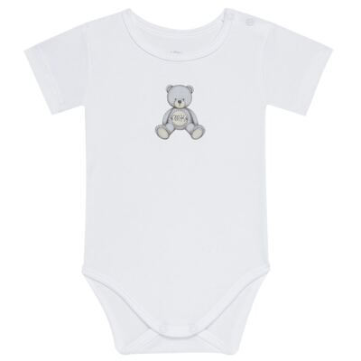 Body curto para bebe em Pima Cotton Supreme Prime Bear Branco - Mini & Kids - BDMC0001.64 BODY MANGA CURTA - SUEDINE-P