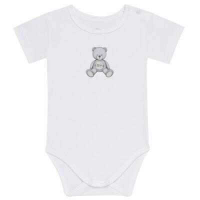 Body curto para bebe em Pima Cotton Supreme Prime Bear Branco - Mini & Kids - BDMC0001.64 BODY MANGA CURTA - SUEDINE-RN