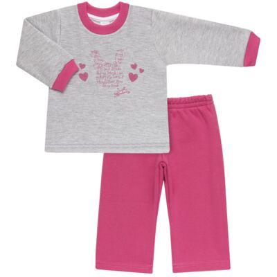 Imagem 1 do produto Blusão com Calça para bebe em moletom Corações Poá Mescla - Mini Mix - LTCM01 CONJUNTO MOLETOM CORAÇÃO POÁ PINK/MESCLA-1