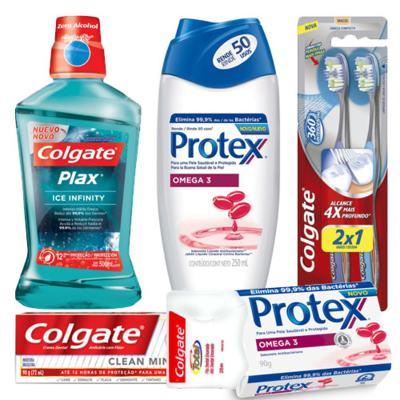 Imagem 1 do produto Kit Colgate Creme, Escova, Antisséptico, Fita + Sabonete Protex Barra e Líquido