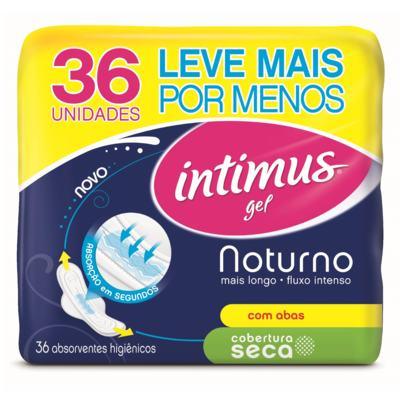 Imagem 1 do produto Absorvente Intimus Gel Noturno Cobertura Seca C/Abas - 36unidades -