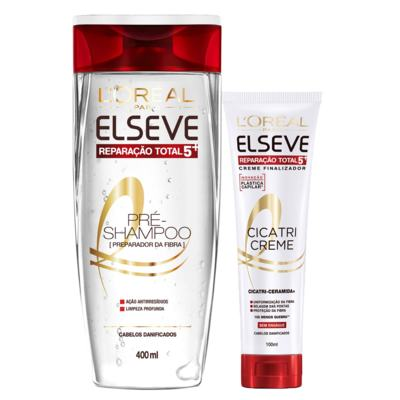 Kit Pré-Shampoo + Cicatri-Creme L'Oréal Paris Elseve Reparação Total 5+ - Kit